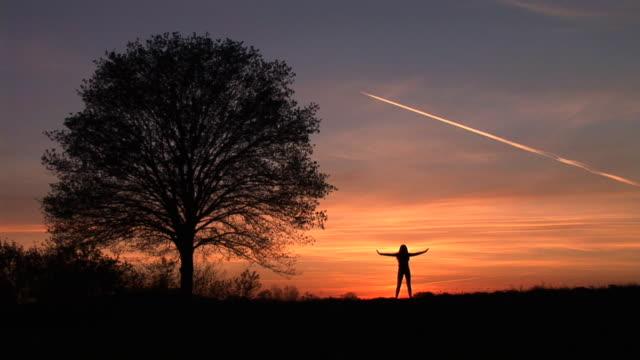 HD: Woman Exercising At Sunset