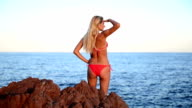 Woman exploring Mediterranean sea area