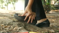 woman feet in accident