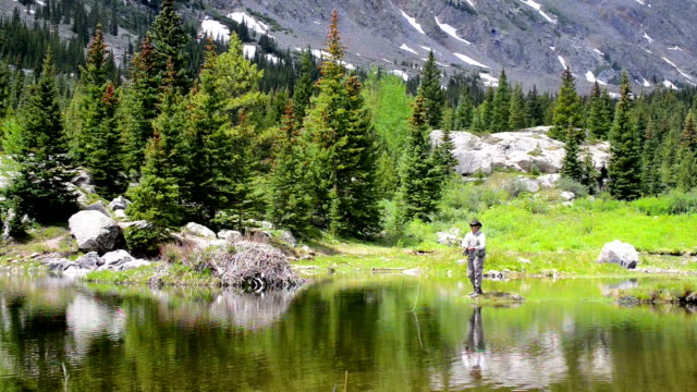 Woman Fly-Fishing in a Mountain Pond