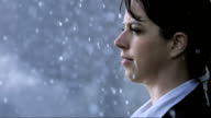 Woman Get Drenched In The Rain (Super Slow Motion)