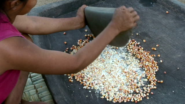 Woman grinding grain by hand, village of Mapajo inhabited by the tribe of Mosetenes, Bolivia, Amazon