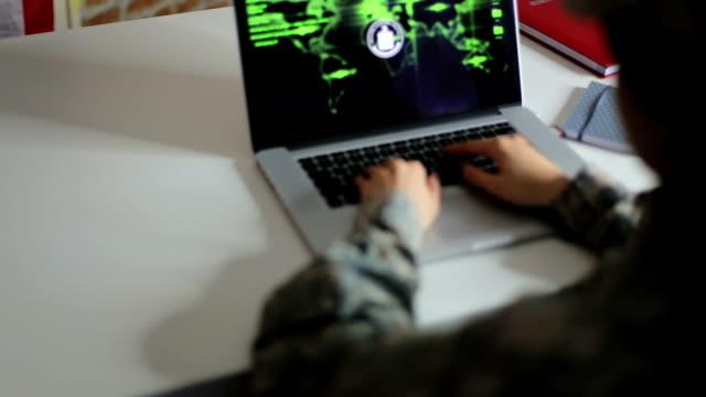 Woman hacker trying to break firewall on website