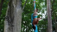 MS TS Woman hangs from trees holding onto fabric while doing  splits and climbs up fabric, spins and performs gymnastics amongst large trees in  tropical environment / Montezuma, Puntarenas, Costa Rica