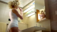 Woman Having Fun Brushing Teeth
