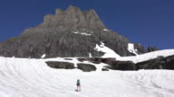 Woman hikes Glacier National Park Logan Pass snowfield Clements Mountain Montana