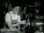 Woman in overalls operating machine MS Woman working lathe machinery Woman's Rights WWII Employment Springfield Vermont Rosie the Riveter Home Front