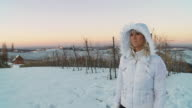 HD STEADYCAM SLOW-MOTION: Woman In Snow