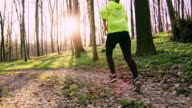 SLO MO TS Woman jogging in a spring forest at sunset