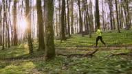 SLO-MO-Frau an einem schönen sonnigen Tag im Frühjahr Wald joggen