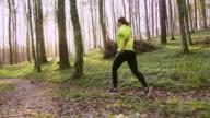 SLO-MO-TS-Frau an einem schönen sonnigen Tag im Frühjahr Wald joggen