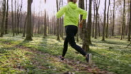 SLO MO TS Woman jogging in a spring forest