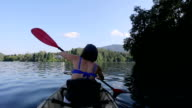 Woman Kayaking in the Lake