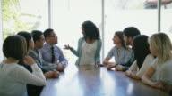 Frau Led-Business Brainstorming-Treffen