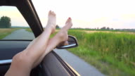 HD SUPER SLOW-MOTION: Woman Legs Sticking Out Of The Car