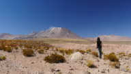 Woman looking at Lascar Volcano in Chile