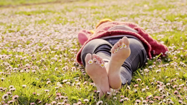 DS Woman lying among daisies