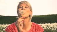 HD SUPER SLOW MO: Woman Making A Wish