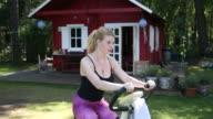 Woman on a bike trainer