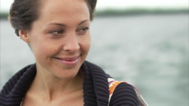 A woman on a boat Stockholm archipelago Sweden.