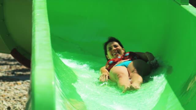 woman on a waterslide