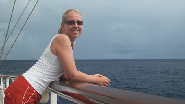 woman on a yacht