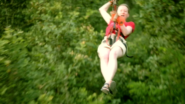 Woman on a zip-line