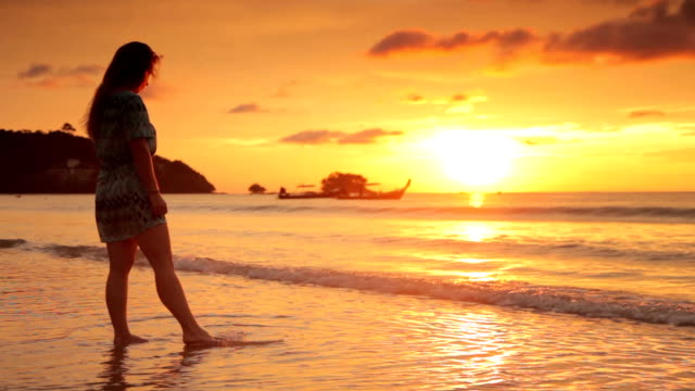 Woman on Beach at Sunset, Thailand
