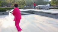 PAN WS Woman performing Tai Chi  in Park/xian,shaanxi,China