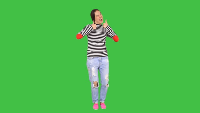 Woman pointing on copy space