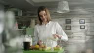 Woman preparing cake
