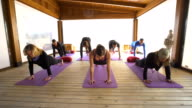 Woman professional yoga instructor practicing yoga with a group of students in the class