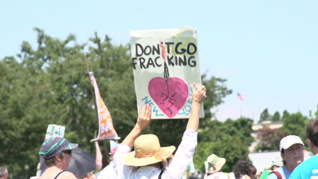 Woman Protests Fracking in New York at US Capitol on July 28 2012 in Washington DC