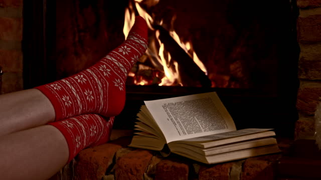 DS Woman reading a book by the fireplace