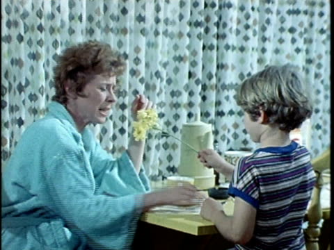 1971 MONTAGE Woman rejecting flowers from son, laughing at daughter climbing on kitchen counter, Los Angeles, California, USA, AUDIO