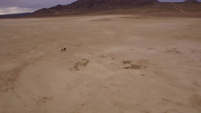 (Drone) Woman Riding Horses in the Desert 03