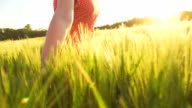 HD SUPER SLOW MO: Woman Running In Field Of Wheat