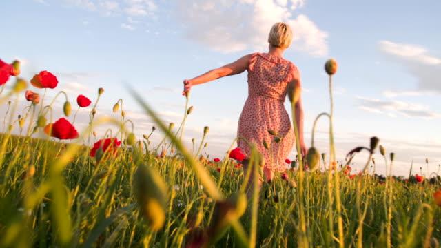 SLO MO donna In esecuzione In The Grass