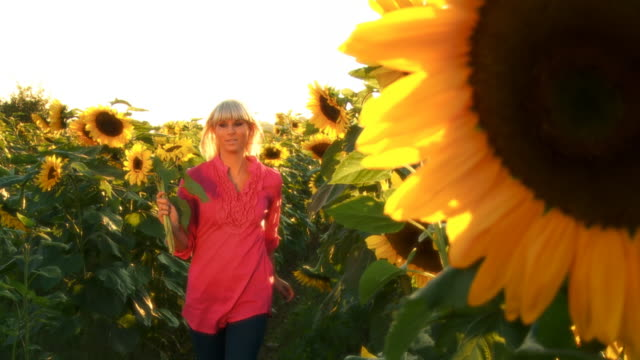 HD SLOW MOTION: Woman Running With Sunflowers