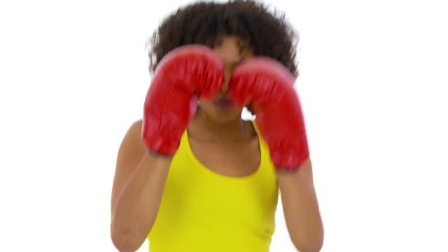 Woman shadowboxing