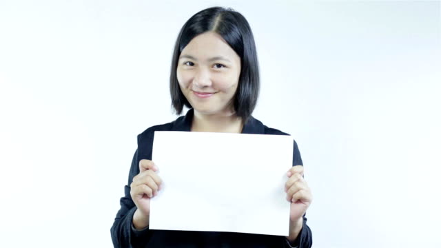 Woman show blank paper,Smile face