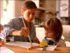 Woman showing girl how to paint with paintbrush on paper at kitchen table