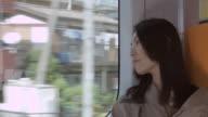 MS Woman sitting by window on train / Nerima, Tokyo, Japan