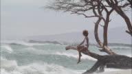 WS, PAN, Woman sitting on tree above ocean, Maui, Hawaii, USA