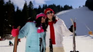 Woman skier, mother and teenage daughter portrait on ski slope