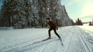 TS SLO MO woman skiing on a cross country track