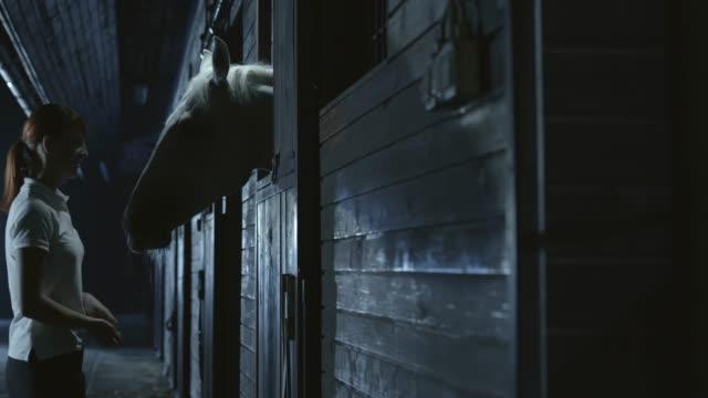 SLO, MO, DS Frau, die Zeit mit Pferd bei Nacht