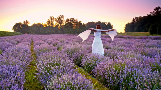 SLO MO Woman spinning in the field of lavender