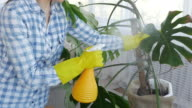 Woman spraying water on plants at home