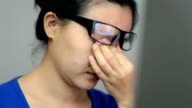 Woman suffering from eye strain